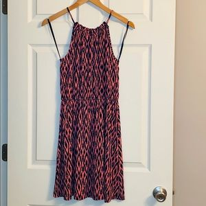Banana Republic Coral & Navy Ikat Dress